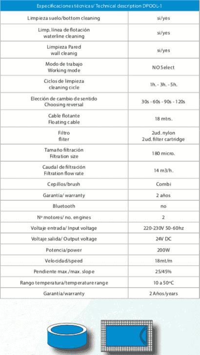 Especificaciones técnicas del robot piscina DPOOL 1 EVO