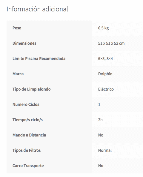 Características Limpiafondos Piscina Dolphin Carrera 25