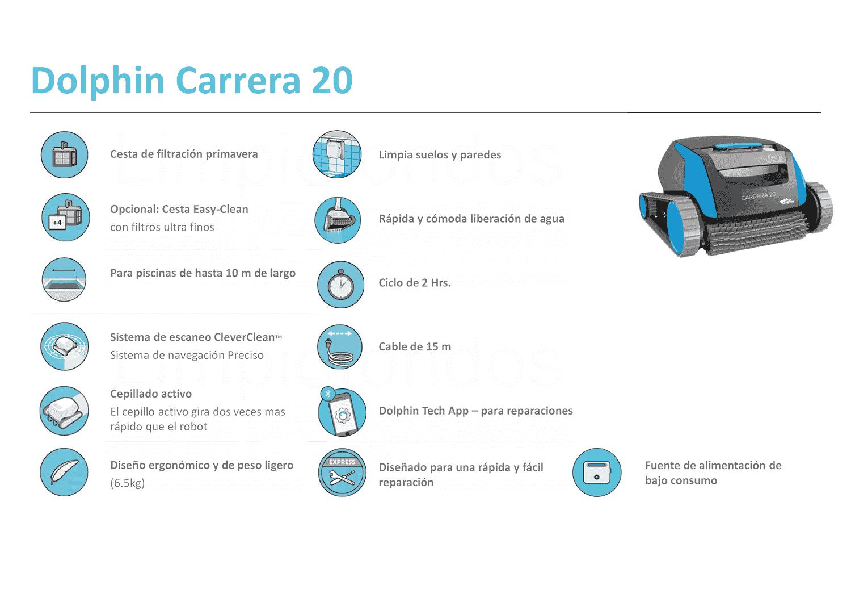 Limpiafondos Dolphin Carrera 20 - caracteristicas