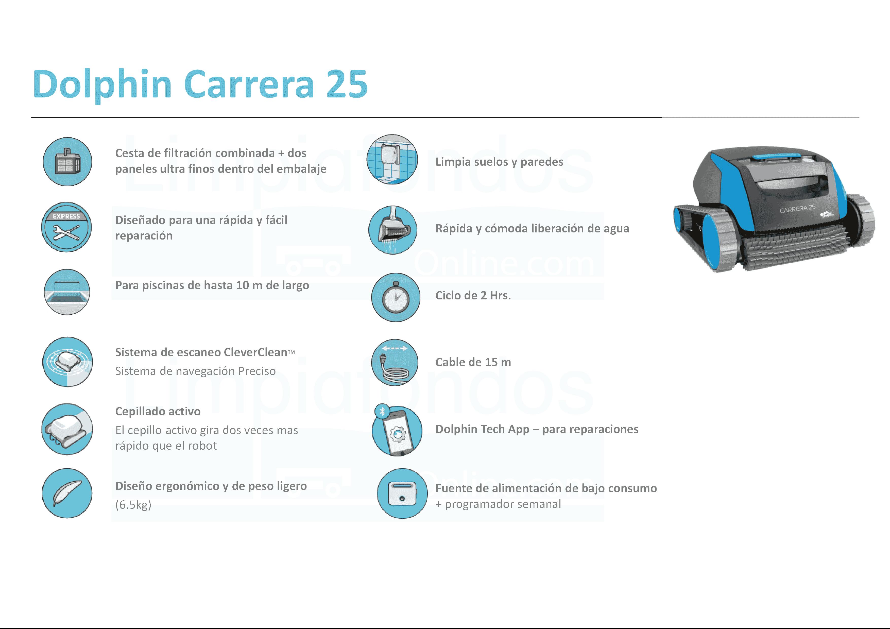 Limpiafondos Dolphin Carrera 25 especificaciones